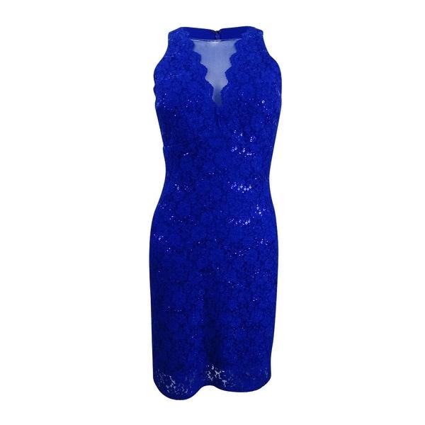 2c4485eac6d Shop Nightway Women s Sequined Lace Cocktail Dress (4