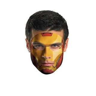 Iron Man Face Tattoo Costume - Gold