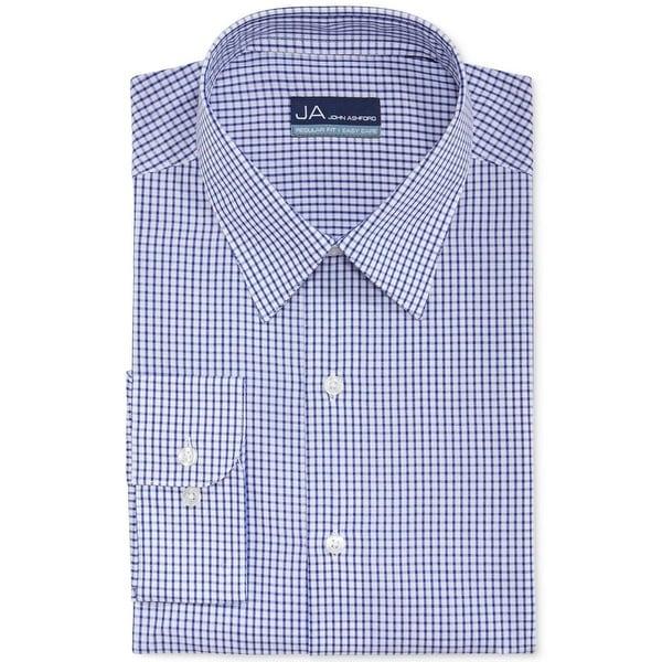 John Ashford Mens Dress Shirt Checkered Long Sleeves
