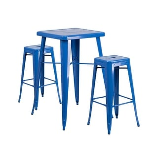 Offex Blue Metal Indoor-Outdoor Bar Table Set with 2 Backless Barstools