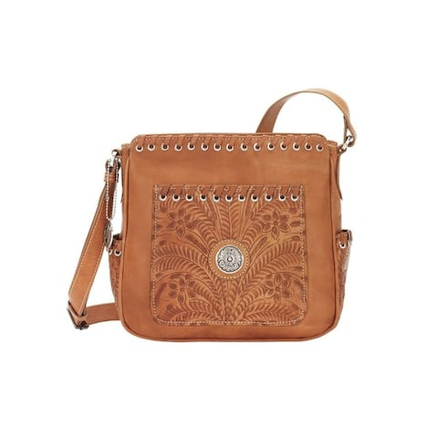 American West Western Handbag Harvest Moon Crossbody Tan - Natural Tan - 9.5 x 9.5 x 4