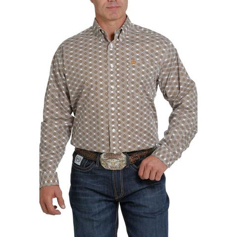 Cinch Western Shirt Mens Long Sleeve Geometric Print Button
