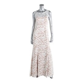 Adrianna Papell Womens Floral Open Back Evening Dress