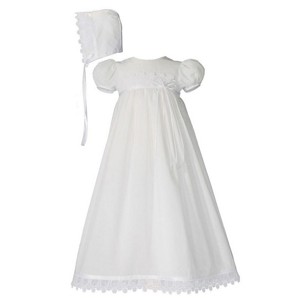 ea426b5b20363 Shop Baby Girls White Cotton Venice Lace Short Sleeve Hat ...
