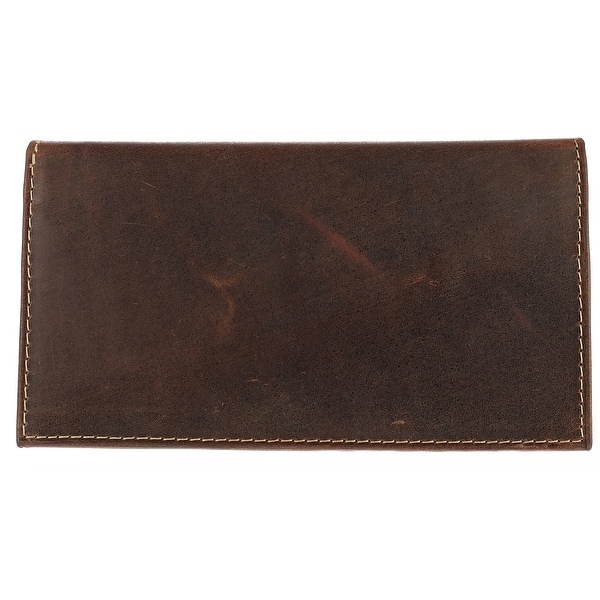 CTM® Hunter Leather Distressed Checkbook Cover - One size