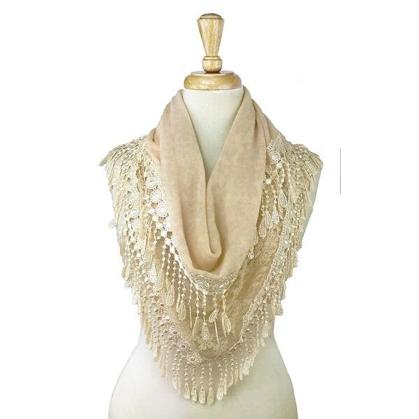 Women's Fancy Lace Fringes Triangle Scarf - Beige