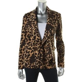 Grace Elements Womens Leopard Print Drapey Blazer - XS