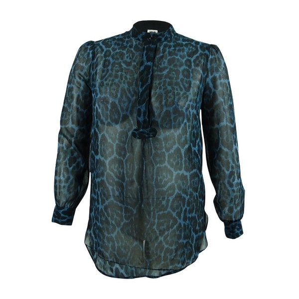 e9900b710 Shop Anne Klein Women's Animal Print Sheer Blouse (12, Juniper Combo) -  juniper combo - 12 - Free Shipping On Orders Over $45 - Overstock - 19767461