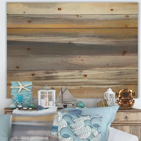 Designart 'Misty Grey Beach' Nautical & Coastal Print on Natural Pine Wood