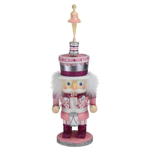 "14.75"" Glittered Pink Musical Ballerina Decorative Christmas Nutcracker"
