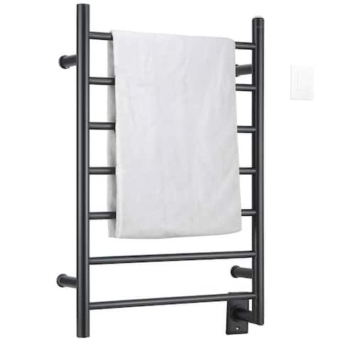Comfort 7-Bar Hardwired Towel Warmer in Matte Black with Wifi Timer