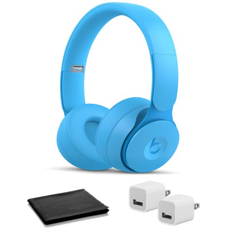 Beats Solo Pro Wireless On-Ear Headphones- Light Blue with USB Adapter