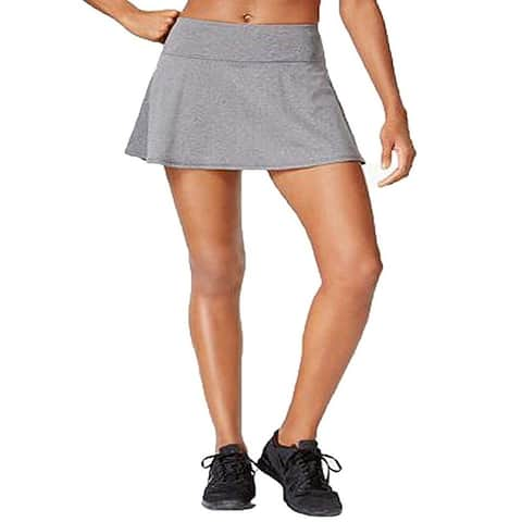 Ideology Women's Flared Performance Skort Charcoal Melange Size Extra Small - Grey - X-Small