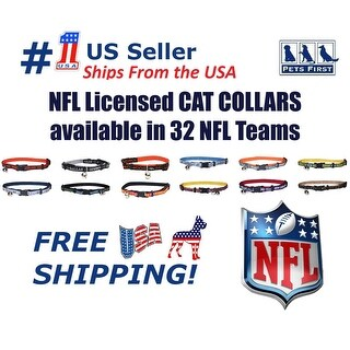 Pets First NFL Cat Collar - Durable and Heavy Duty Nylon Web Collar