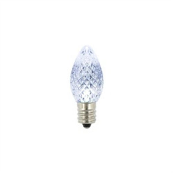 Pack of 4 Faceted Transparent Cool White LED C7 Christmas Replacement Bulbs