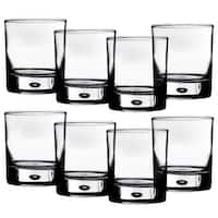 Home Essentials Red Series 10 oz. Bubble-Bottomed Round Cut Drinking Glasses - Set of 8 - 14 in. x 16 in. x 6 in.