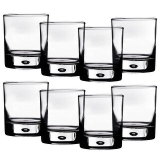 Home Essentials Red Series 10 oz. Bubble-Bottomed Round Cut Drinking Glasses - Set of 8