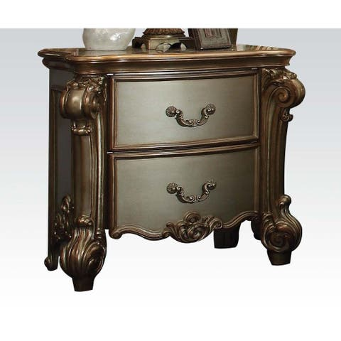 Vintage Style Nightstand with 2 Drawers(Gold Patina & Bone)