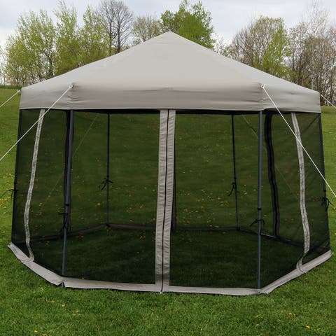 Sunnydaze Quick-Up 12-Foot Instant Hexagon Canopy Gazebo with Rolling Bag - Grey