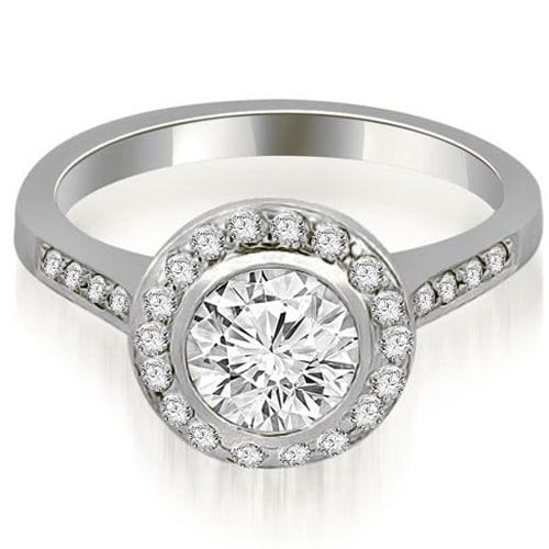 0.85 cttw. 14K White Gold Bezel Center Round Cut Diamond Engagement Ring