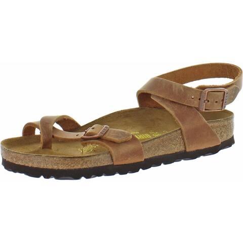 Birkenstock Womens Footbed Sandals Leather Toe Loop - Antique Brown - 36