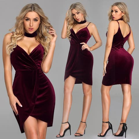 Ever-Pretty Women's Sexy Velvet Red Cocktail Party Night Out Dress 04098