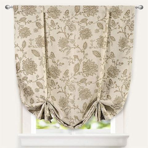 DriftAway Freda Jacobean Floral Linen Blend Room Darkening Tie Up Curtain