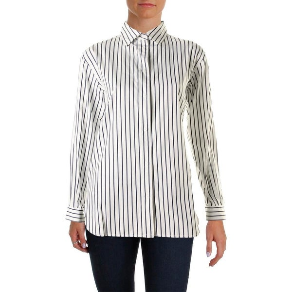 Lauren Ralph Lauren Womens Button-Down Top Cotton Long Sleeves