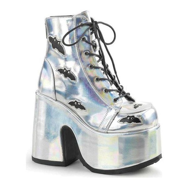 72d707512 Demonia Women's Camel 201 Platform Ankle Bootie Silver Hologram/Black  Vegan