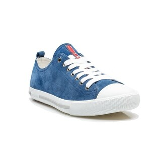 Prada Men's Suede Leather Lace Up Flat Sneaker Shoes Blue