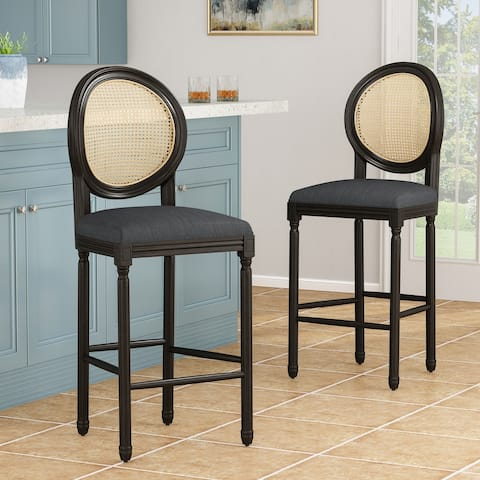 Govan French Country Wooden Barstools with Upholstered Seating (Set of 2) by Christopher Knight Home