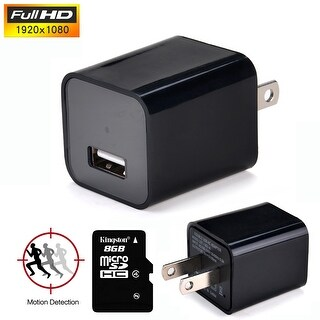 AGPtek HD1080P Hidden Spy Camera Mini USB Wall Adapter US Plug Charger Nanny Cam DV with 8G Memory Card