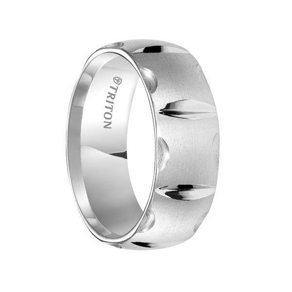LUKE Domed White Tungsten Carbide Ring with Brush Finished Matrix Pattern and Bright Cuts by Triton Rings - 8 mm