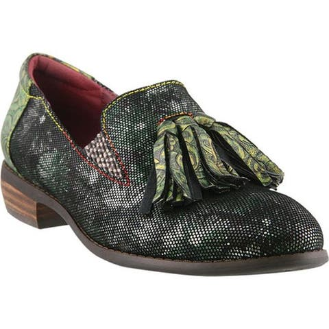 L'Artiste by Spring Step Women's Klasik-Foil Tassel Loafer Green Multi Leather/Synthetic