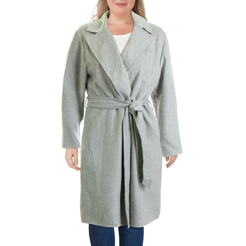 Lauren Ralph Lauren Womens Tarynna Wrap Coat Wool Blend Maxi - Grey Heather
