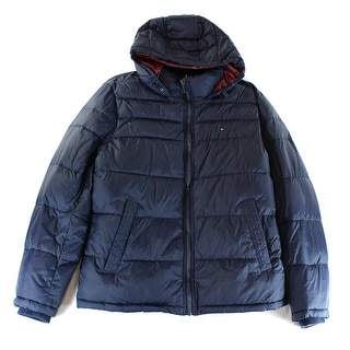 Tommy Hilfiger NEW Blue Mens Size XL Full Zip Hooded Puffer Jacket