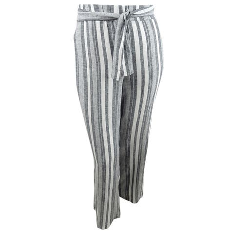 INC Womens Plus Size Front-Tie Wide-Leg Pants (2X, Yarndye Stripe) - 2X