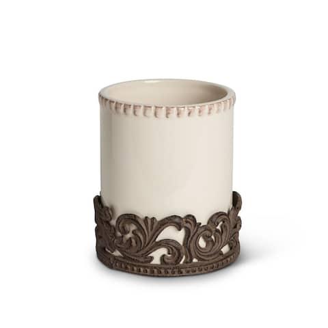 "7"" Brown Wood and Ceramic Utensil Holder"