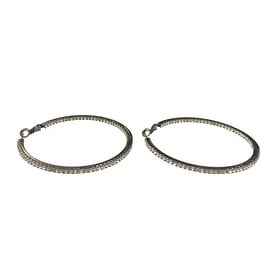 "eli k GUN METAL PLATE & CLEAR CRYSTALS INSIDE/OUT MEDIUM 2"" HOOP EARRINGS"