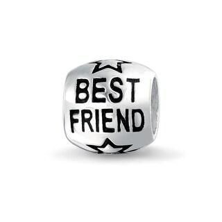Bling Jewelry Best Friend Charm Bead 925 Sterling Silver Star Barrel Message Bracelet