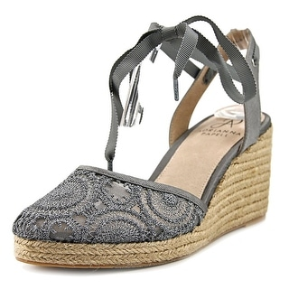 Adrianna Papell Penny Women Round Toe Canvas Silver Espadrille