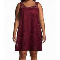 Signature by Robbie Bee Purple Womens Size 1X Plus Shift Dress