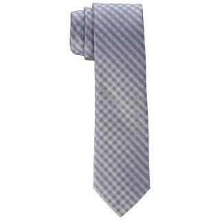 Calvin Klein Gray Ridge Mini Check Men's Neck Tie Silk Accessory