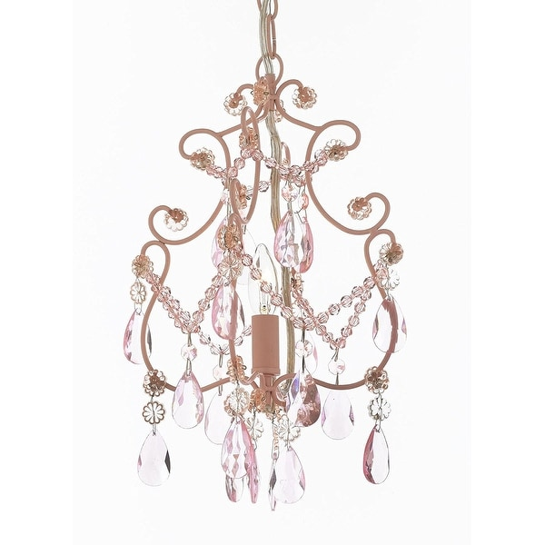 Wrought Iron and Crystal 1 Light Chandelier Pendant Pink Lighting Hardwire and Plug In Perfect for Kid's Girl's Room