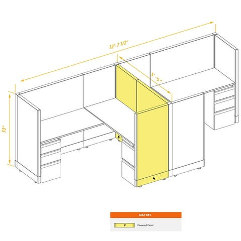 Workstation Desk 53H 2pack Cluster Powered