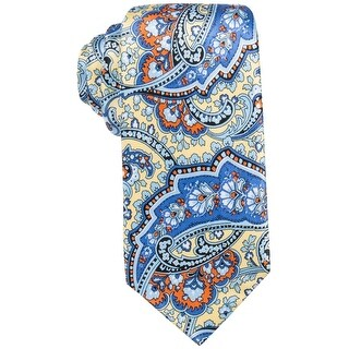 Countess Blue Yellow Boxwood Paisley Men's Neck Tie Silk Accessory