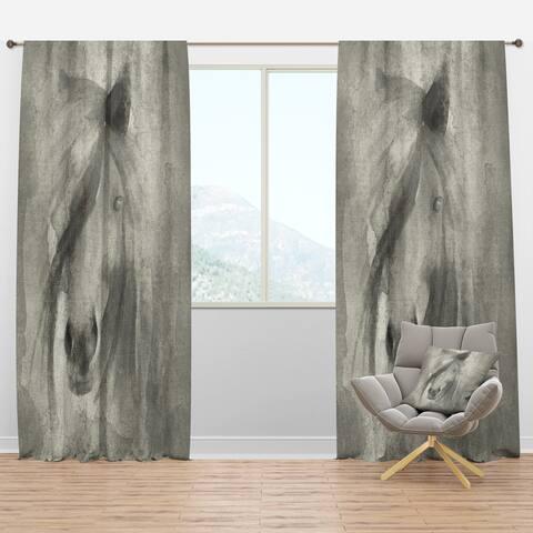 Designart 'Farmhouse Horse V' Farmhouse Blackout Curtain Panel