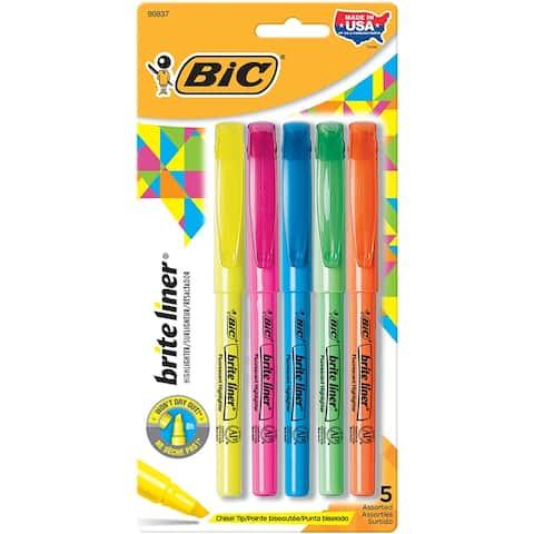 Bic america bic bic bright liner highlighters 5pk blp51asst