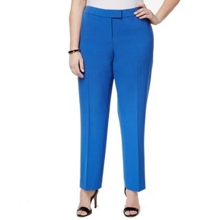 Anne Klein Solid Blue Women's Size 24W Plus Stretch Dress Pants