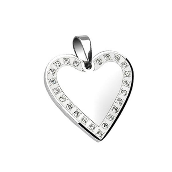 Stainless Steel Gem Paved Heart Frame (30 mm Width)
